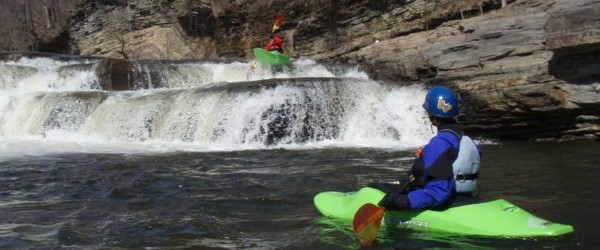 Steve paddles over Little falls on the Rondout Creek